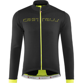 Castelli Fondo Maglia con zip intera Uomo, light black/yellow fluo